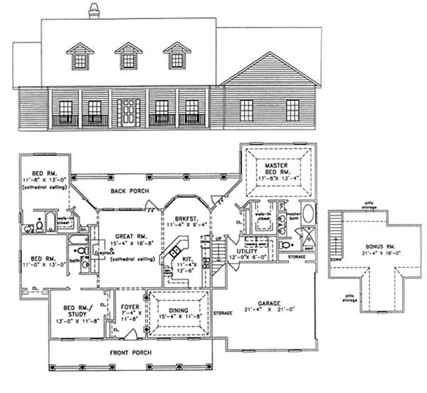 4 Bedroom 1800 Square Foot House Plans